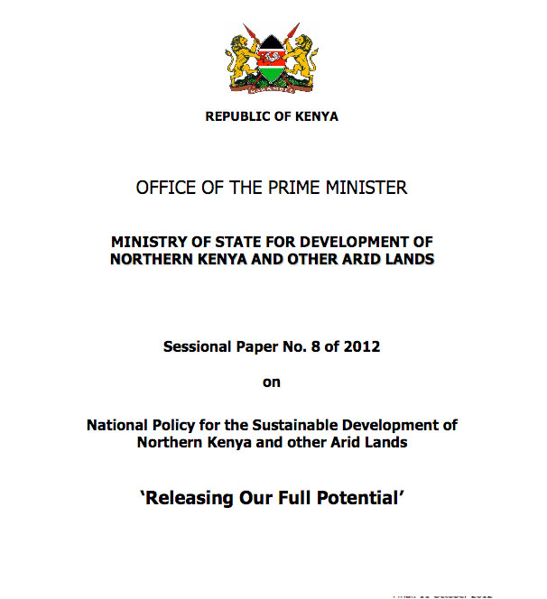 Sessional Paper No. 8 of 2012 on National Policy for the Sustainable Development of Northern Kenya and other Arid Lands
