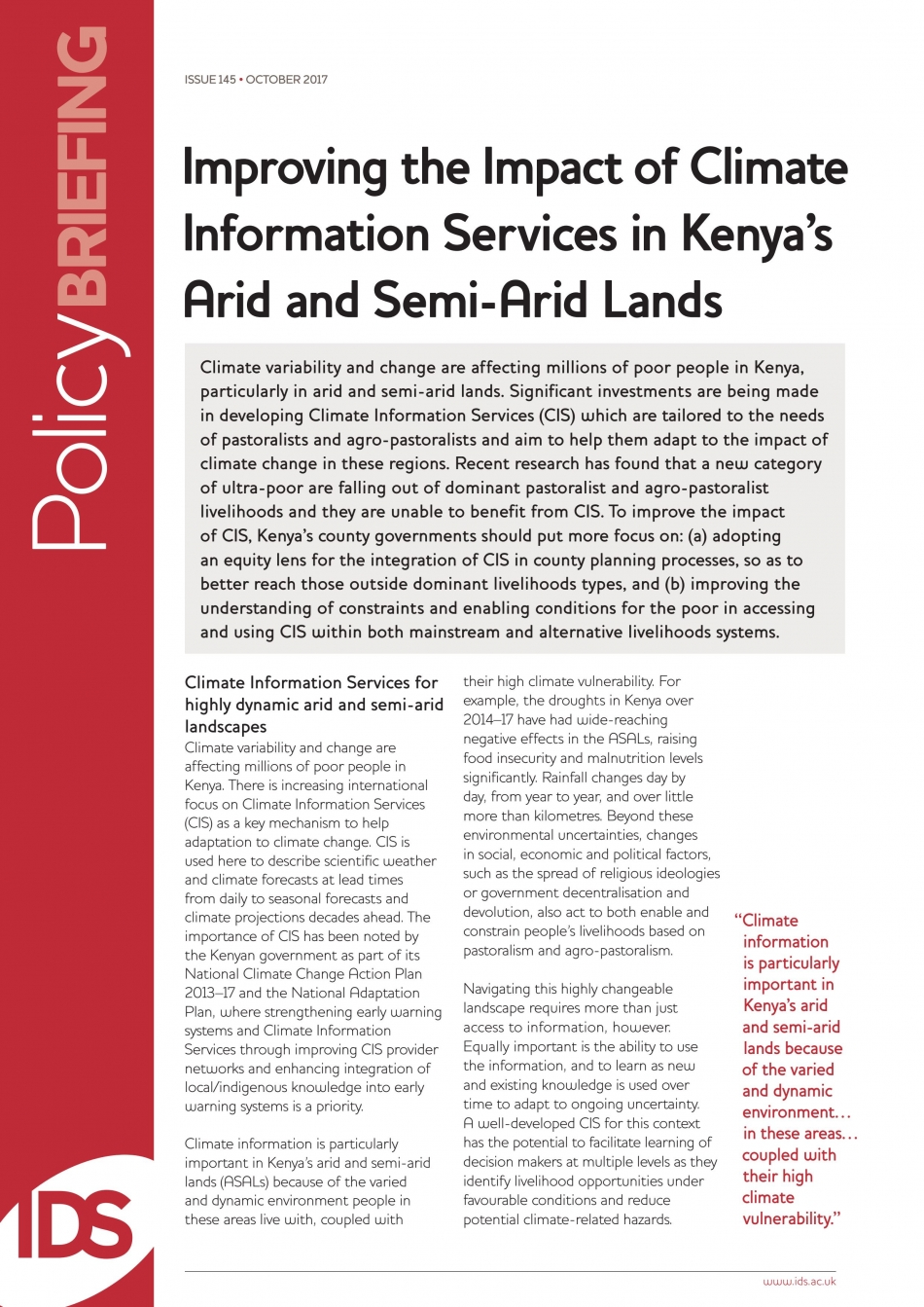 Improving the Impact of Climate Information Services in Kenya's Arid and Semi-Arid Lands